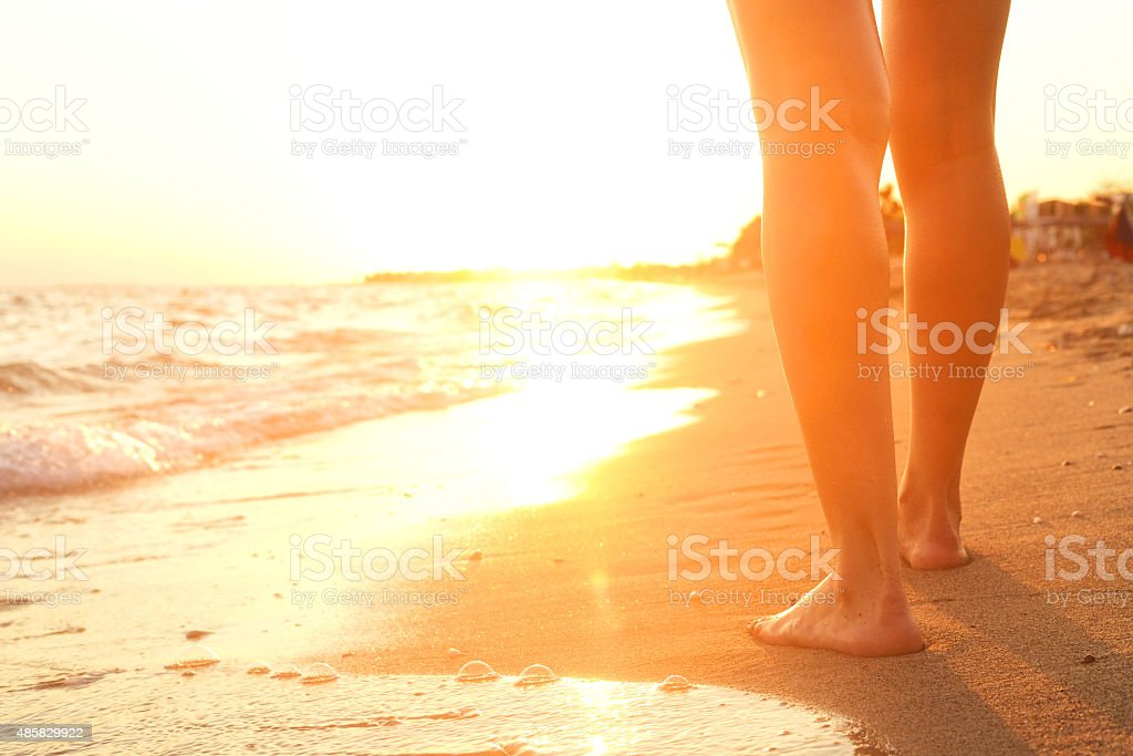 Walking on the sand. stock photo
