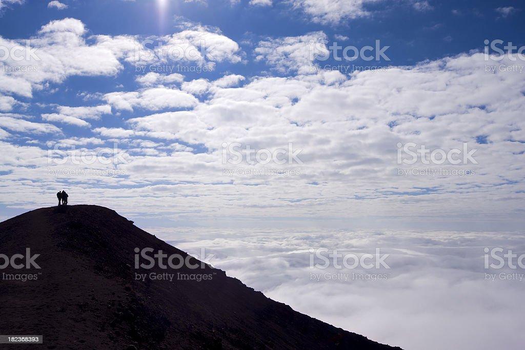 Walking on the slopes of Mount Meru stock photo