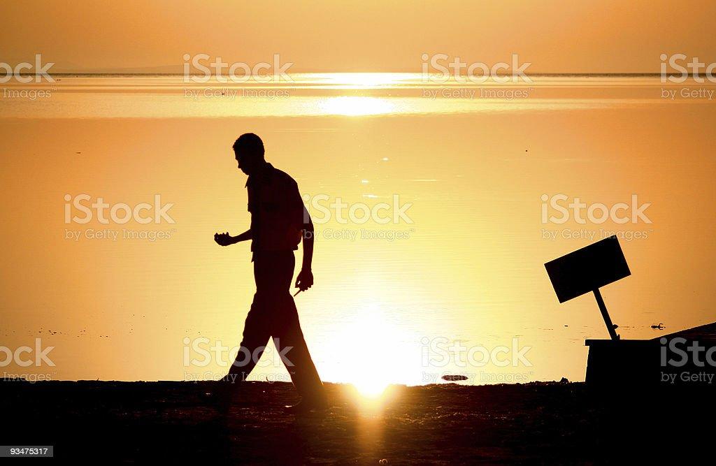 walking on the sunrise royalty-free stock photo
