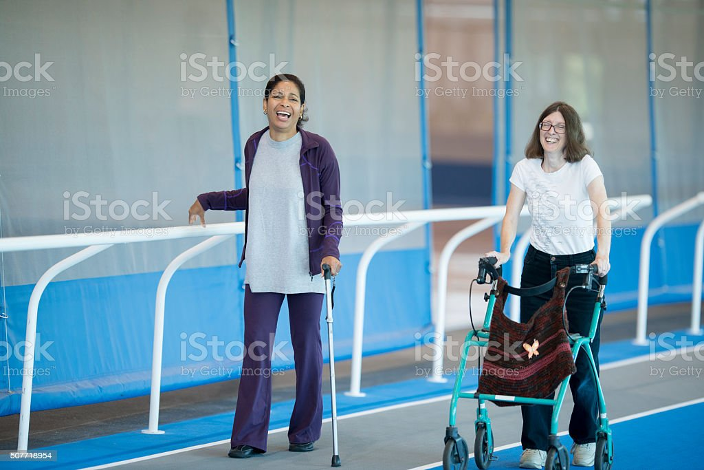 Walking on the Track for Physical Therapy stock photo