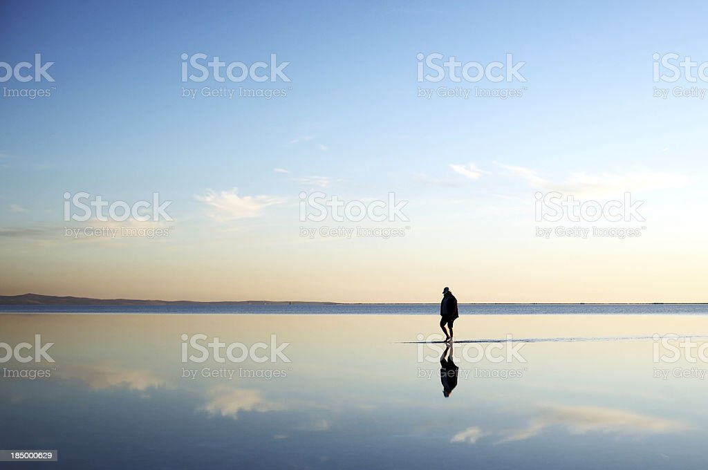 walking on the water stock photo