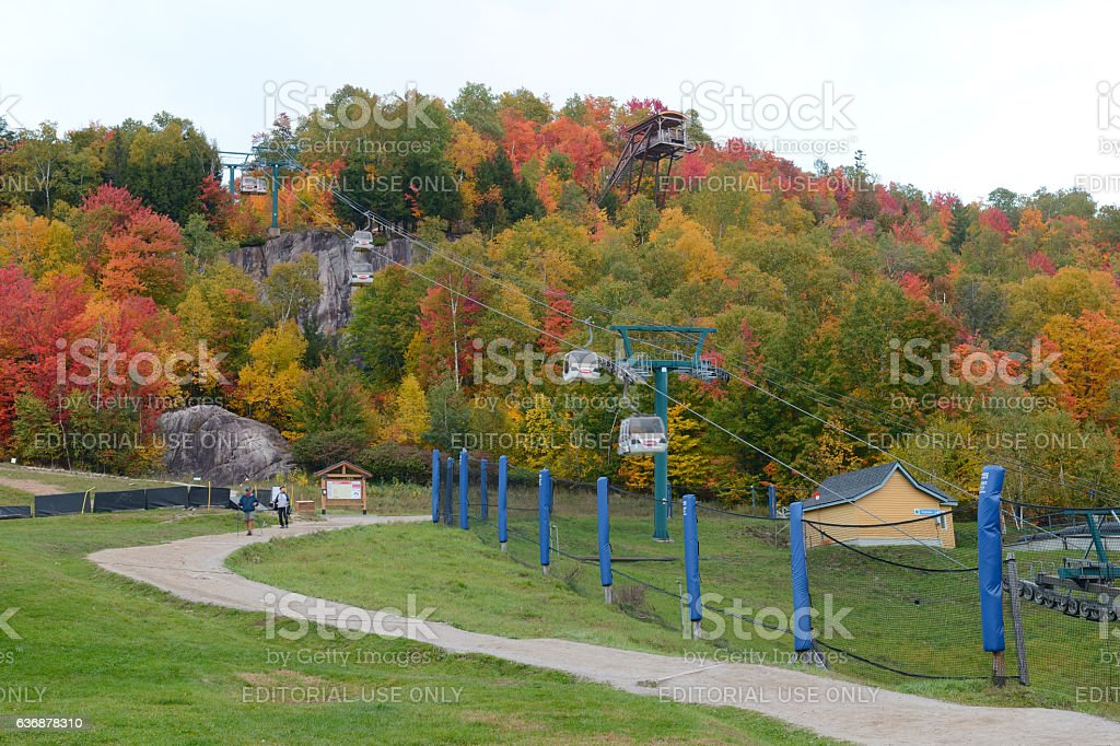 Walking on trail in Mont Tremblant resort village stock photo