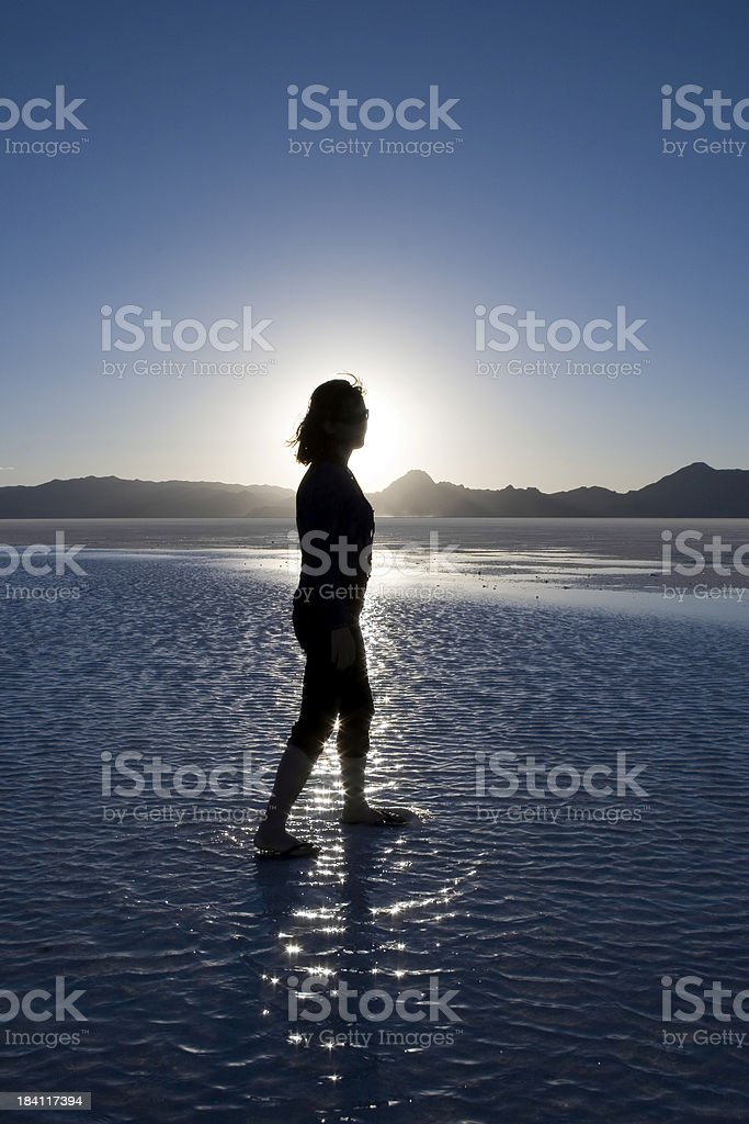Walking on Water in the Desert - Strong Silhouette royalty-free stock photo
