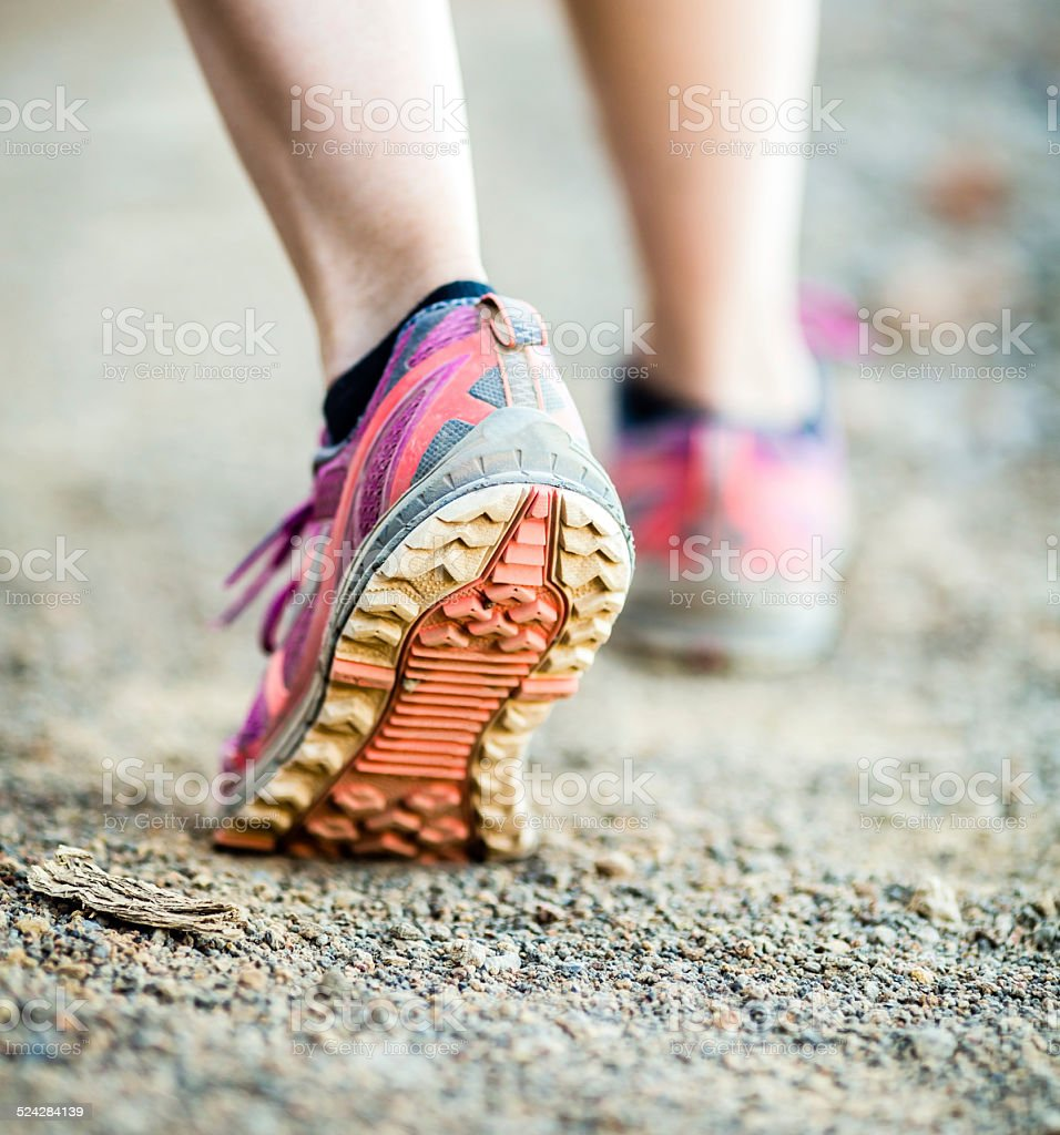 Walking or running legs, adventure and exercising stock photo