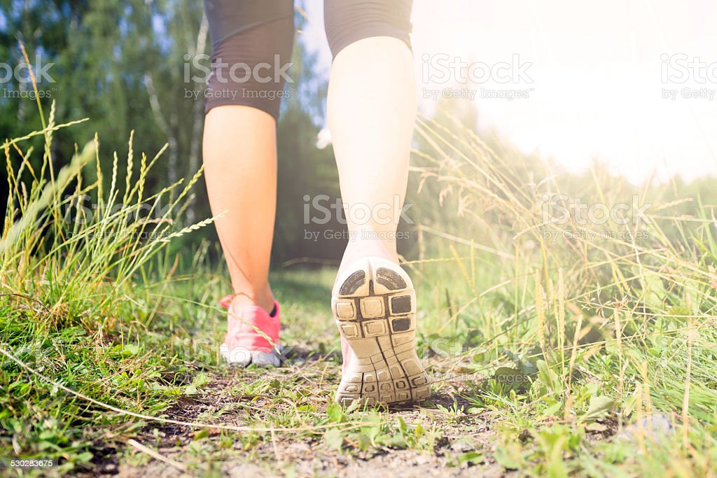 Walking or running legs in forest, adventure and exercising stock photo