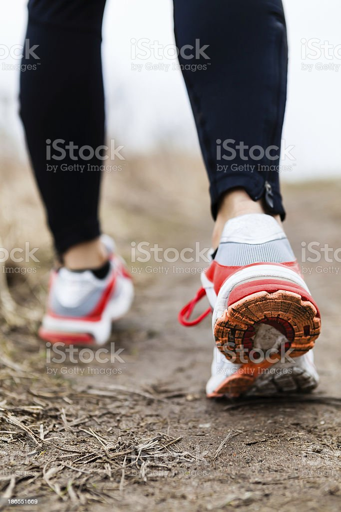 Walking or running legs sport shoes stock photo