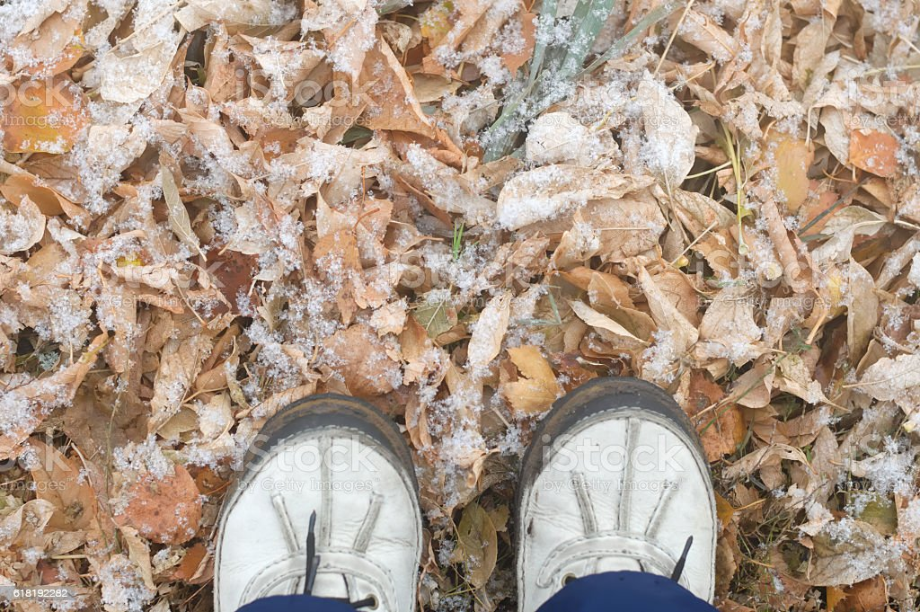 Walking outside after first snow in the park.Feet shoes walking stock photo