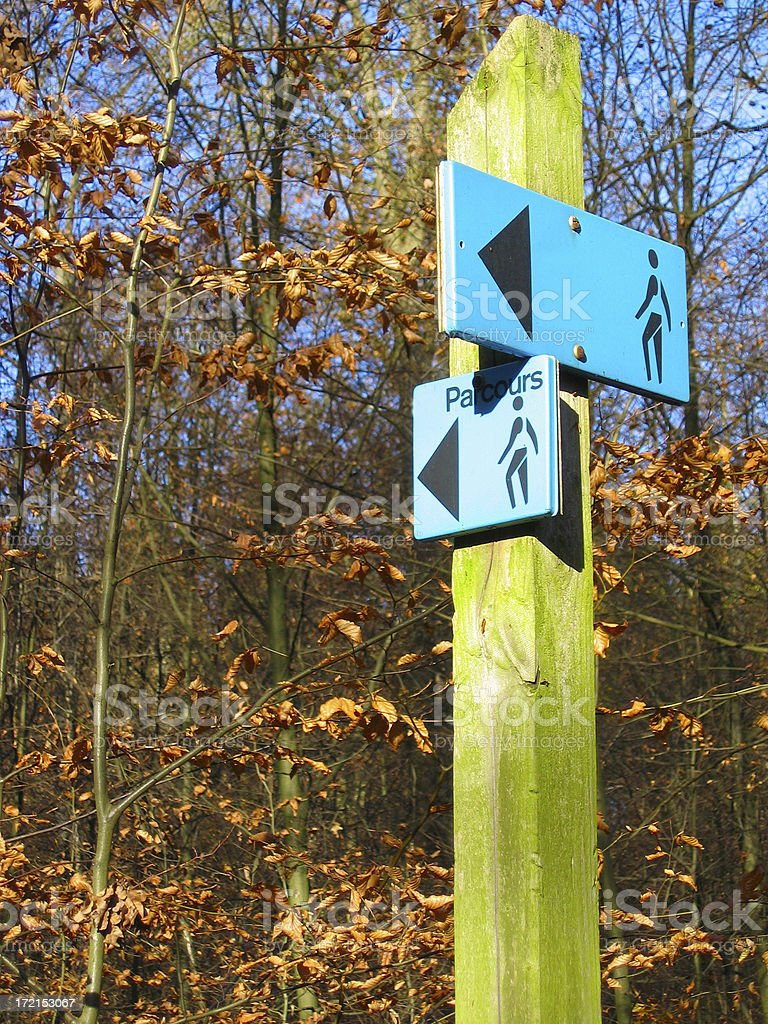 Walking parcours sign stock photo