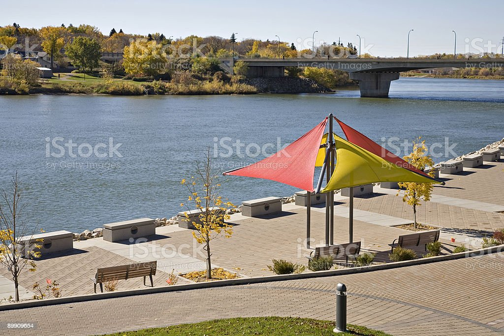 Walking Path Along The River in Downtown Saskatoon stock photo