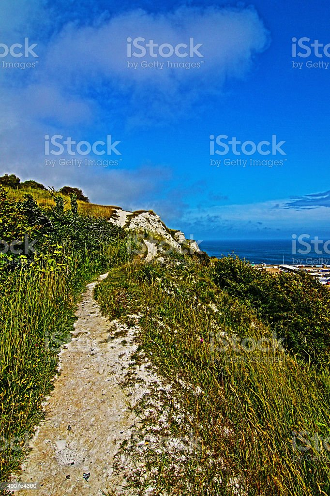 Walking path along the White Cliffs of Dover stock photo