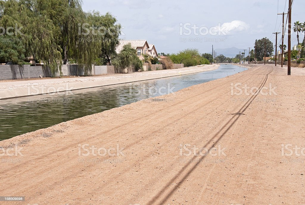Walking path and homes along canal in Phoenix royalty-free stock photo