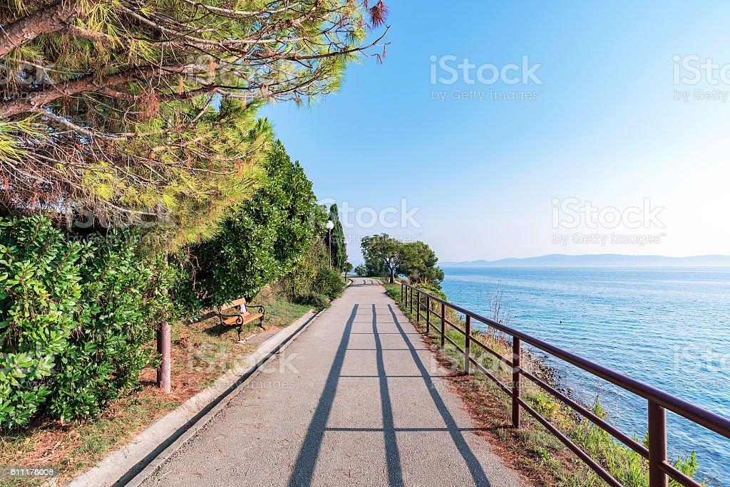 Walking path in Zadar stock photo
