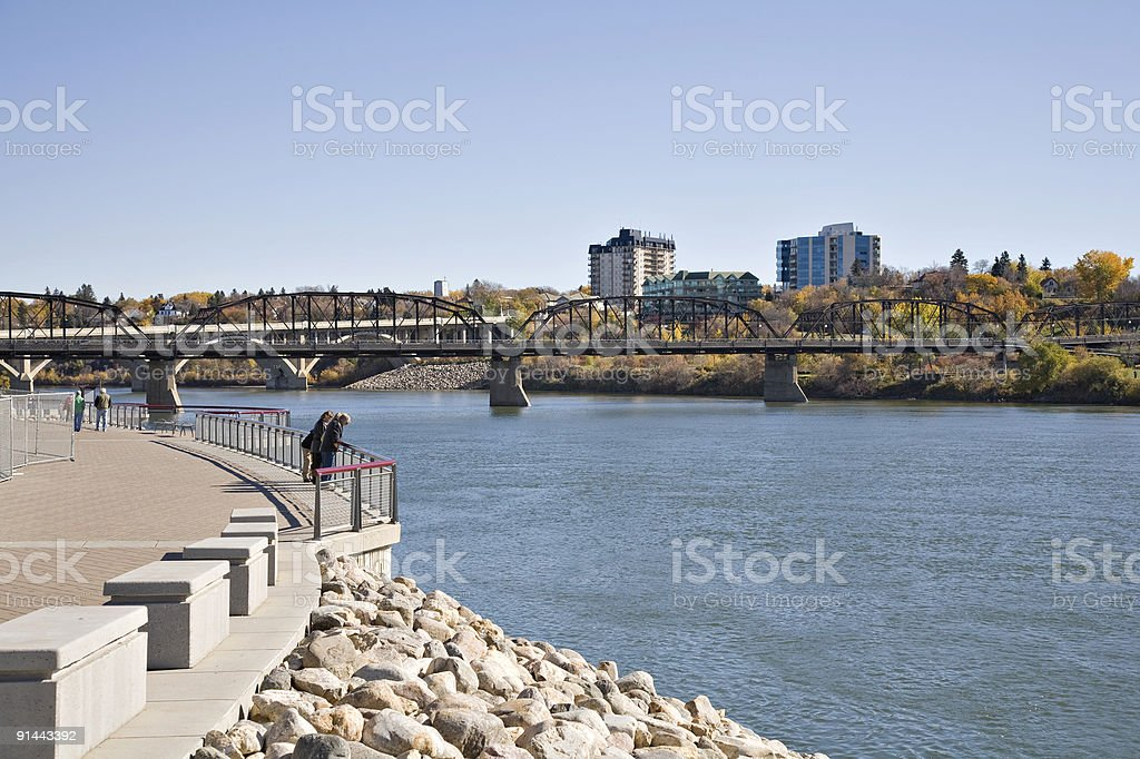 Walking Path Near River In Downtown Saskatoon stock photo