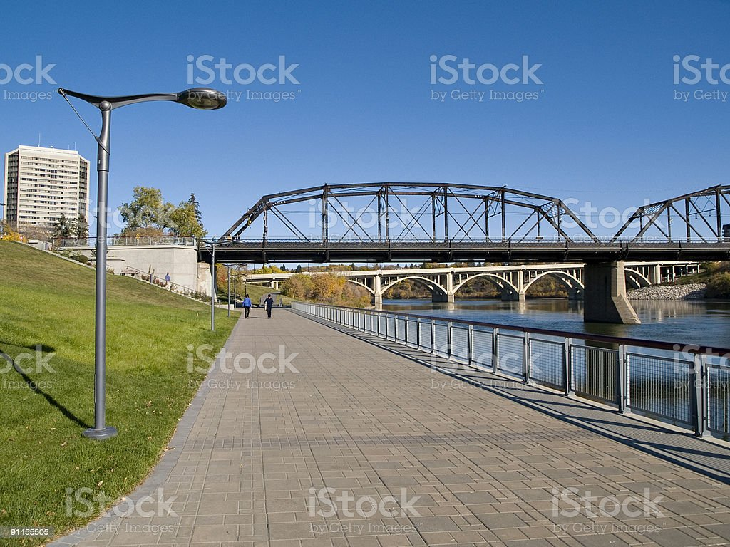 Walking Path Under Victoria Bridge, Saskatoon stock photo