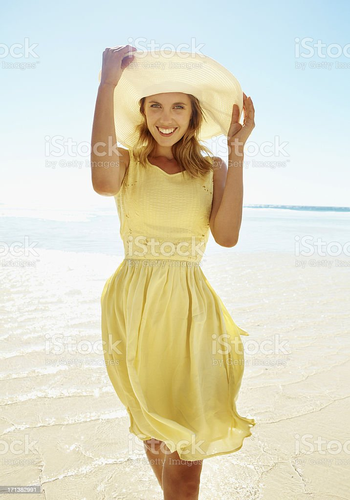 Walking peacefully in the ocean royalty-free stock photo