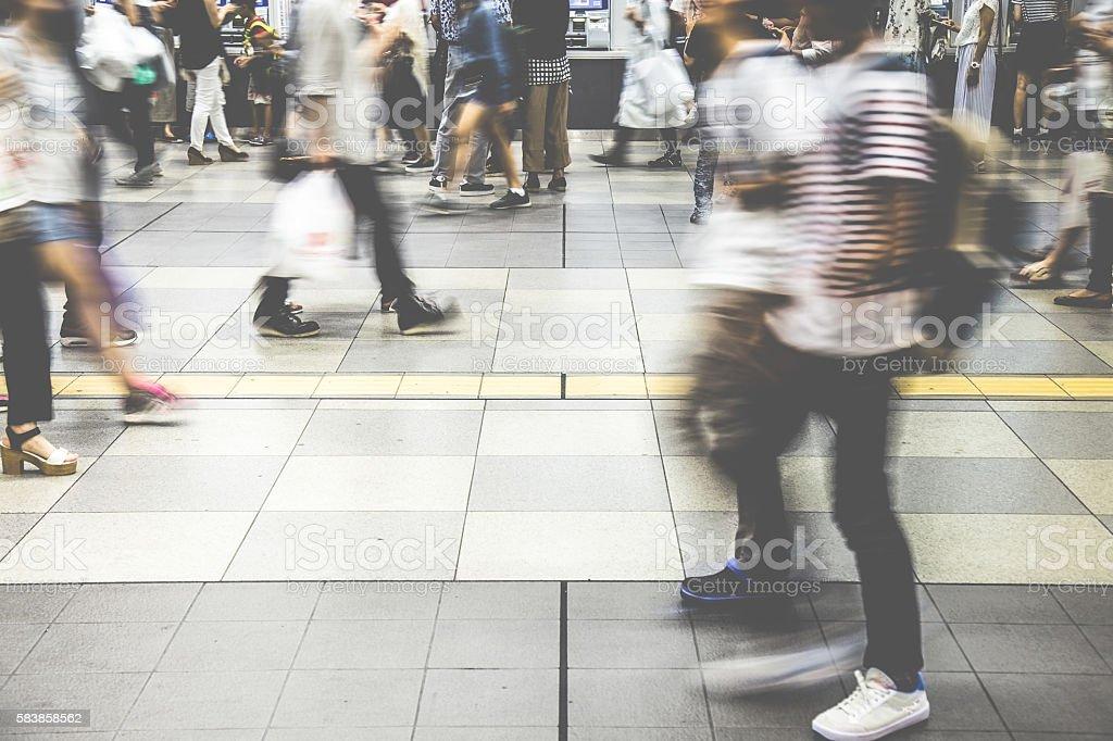 Walking people in Japan stock photo