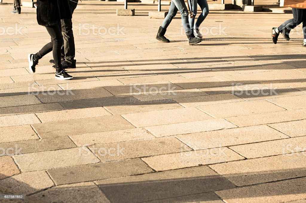 Walking people on the street stock photo