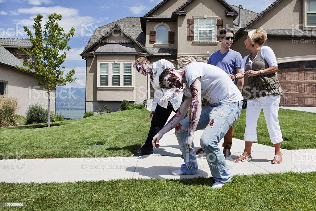Walking Pet Zombies royalty-free stock photo