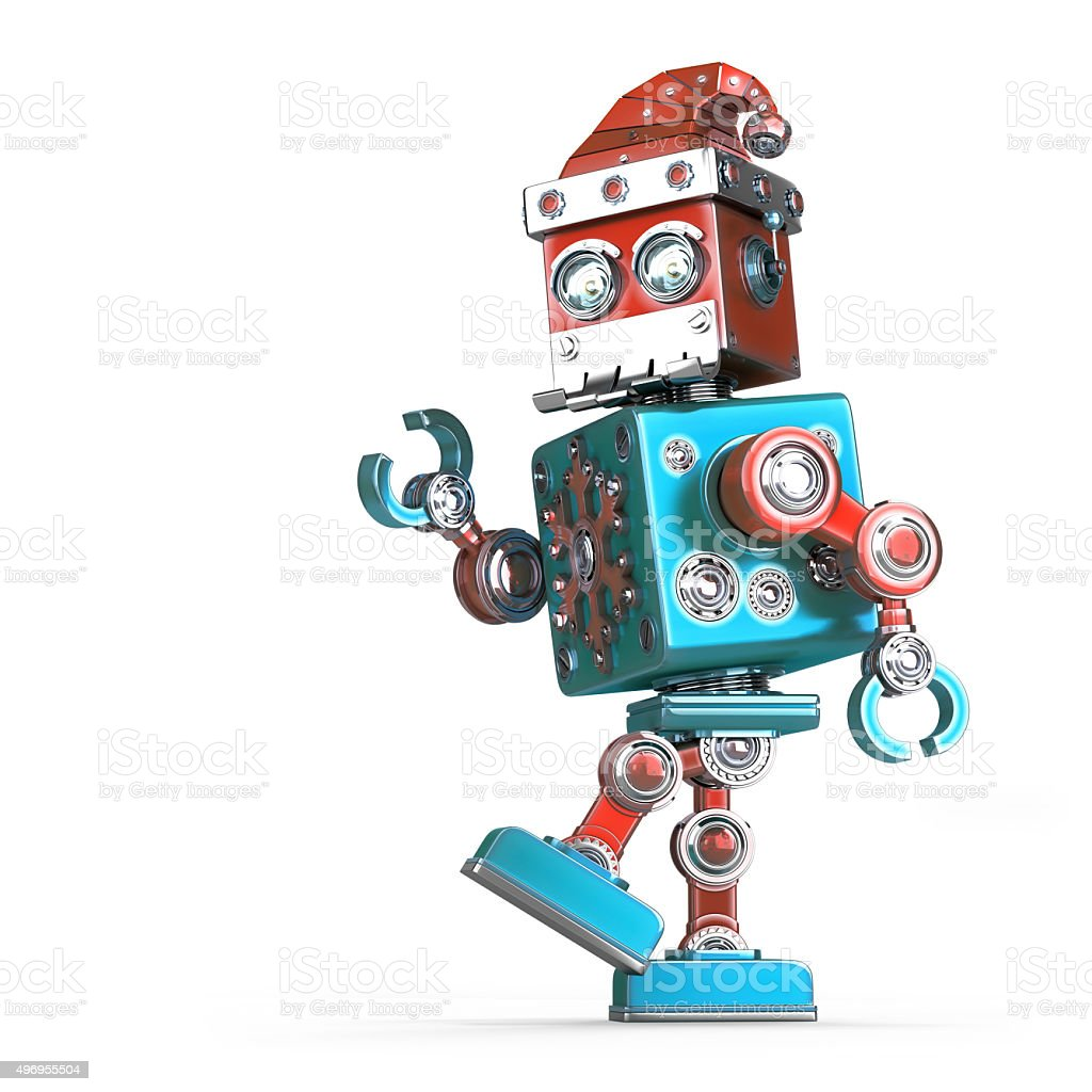 Walking robot santa. Isolated. Contains clipping path stock photo
