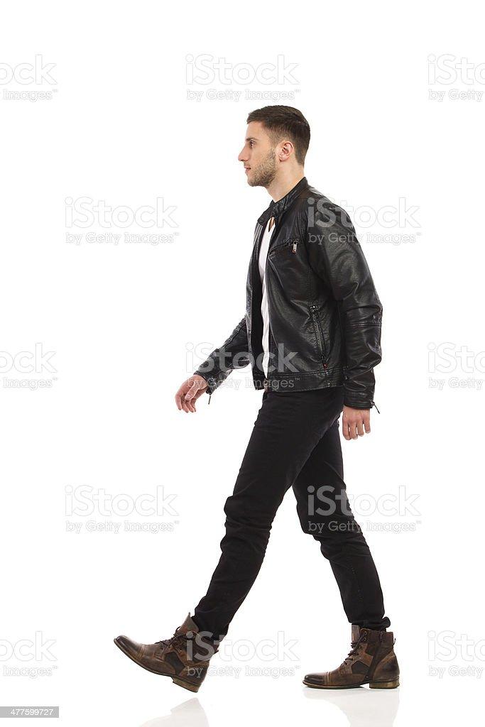 Walking rock man. stock photo