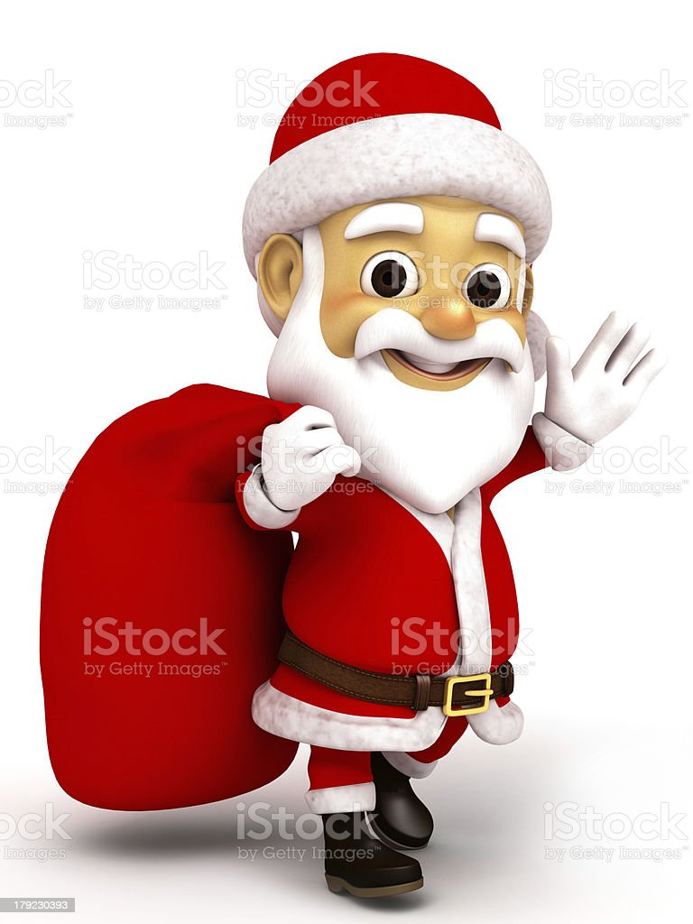 Walking Santa Clause carrying sack full of gifts royalty-free stock photo