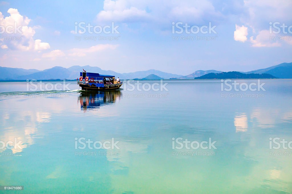 Walking ship on the lake Kyoydzhegiz, Dalyan, Turkey stock photo
