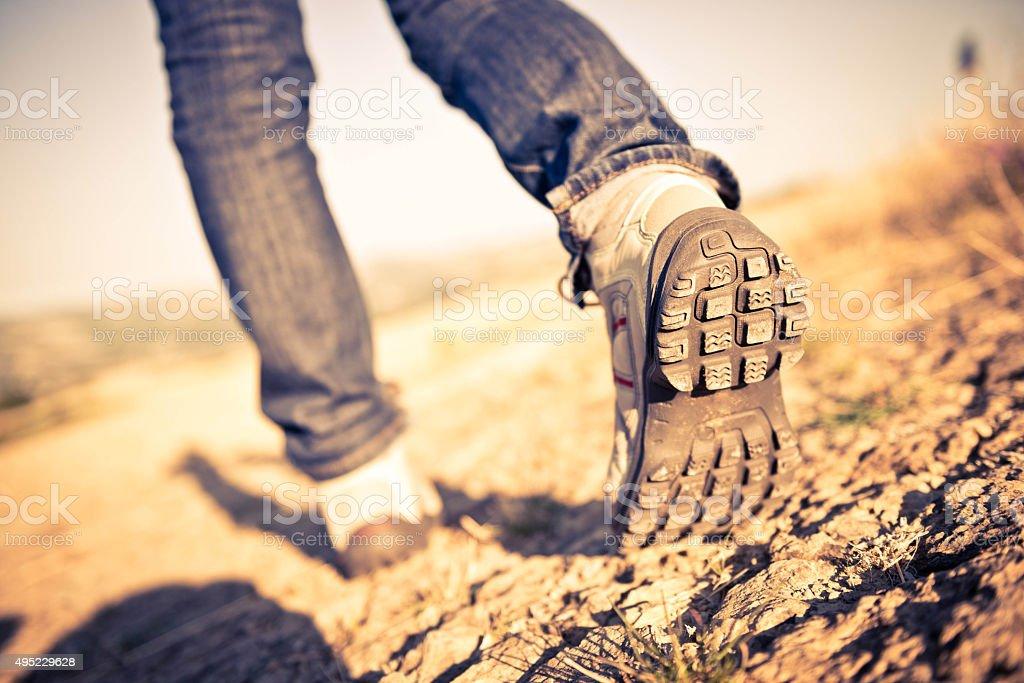 Walking shoes closeup stock photo