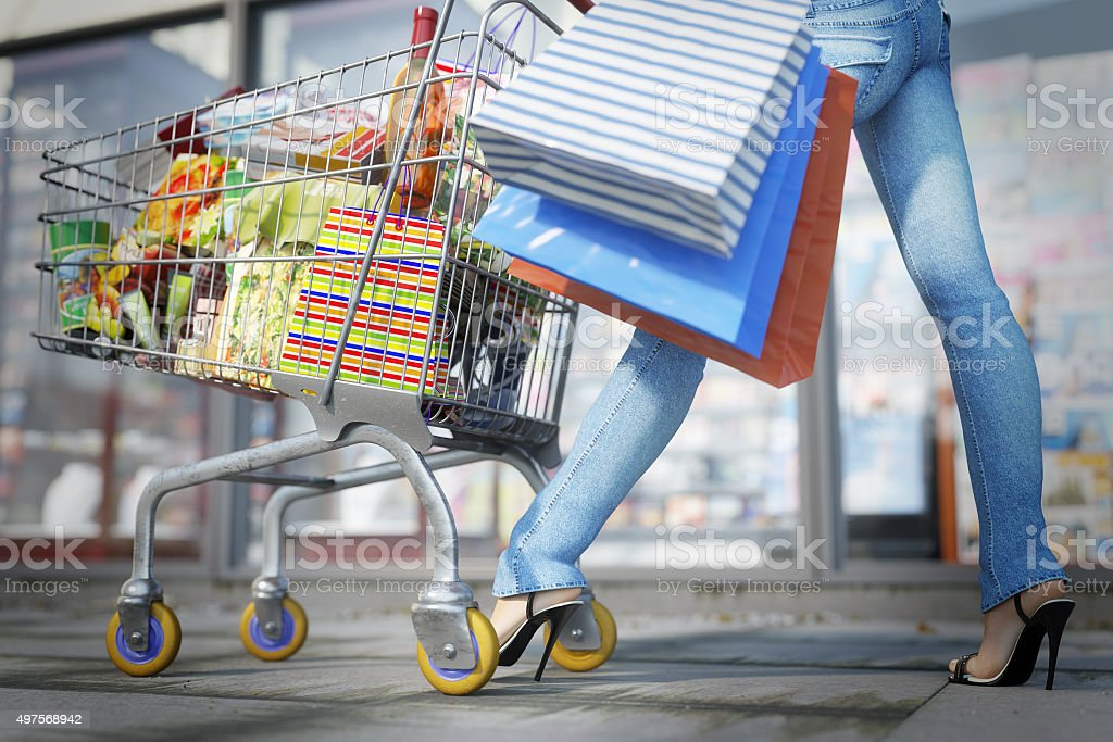 Walking shopping woman  close up sale concept stock photo