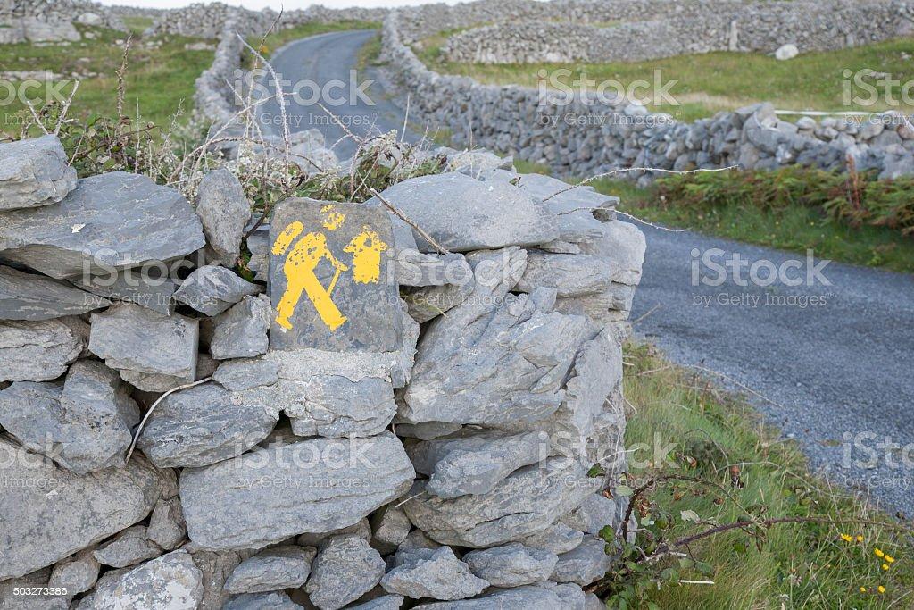 Walking Sign, Inishmore; Aran Islands stock photo