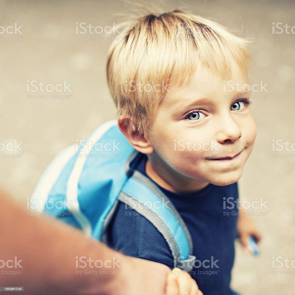 Walking son to school stock photo
