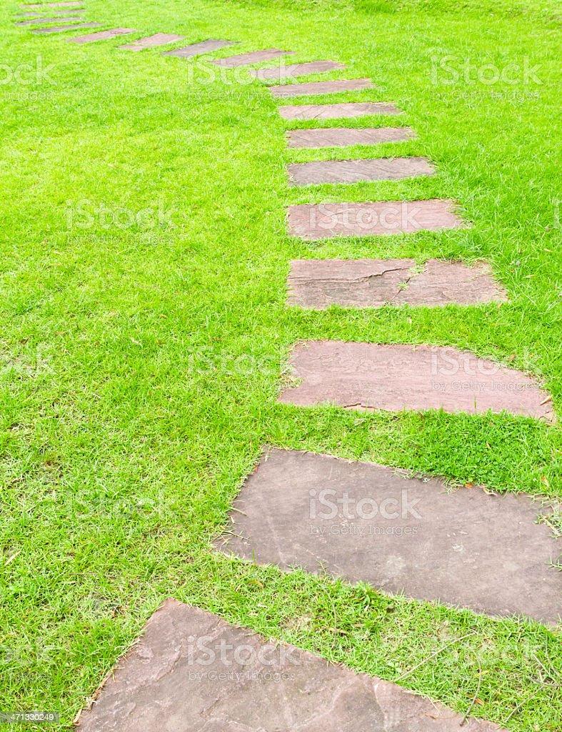A piedi pietra con erba verde foto stock royalty-free