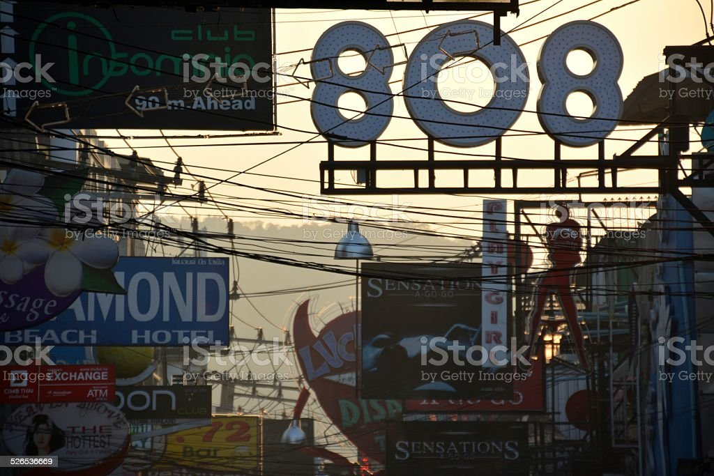 Walking street bar signs  against the sunlight, Pattaya thailand stock photo