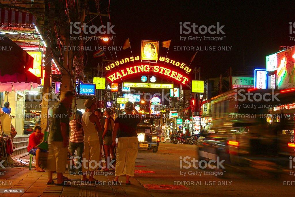 Walking Street in Pattaya stock photo