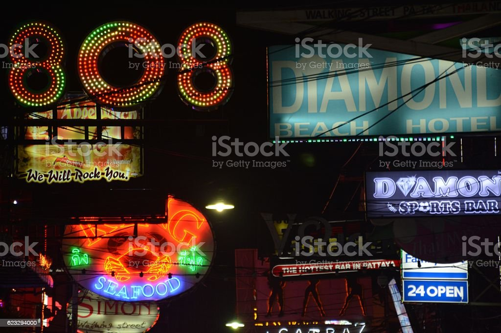 Walking street neon signs in Pattaya, Thailand stock photo