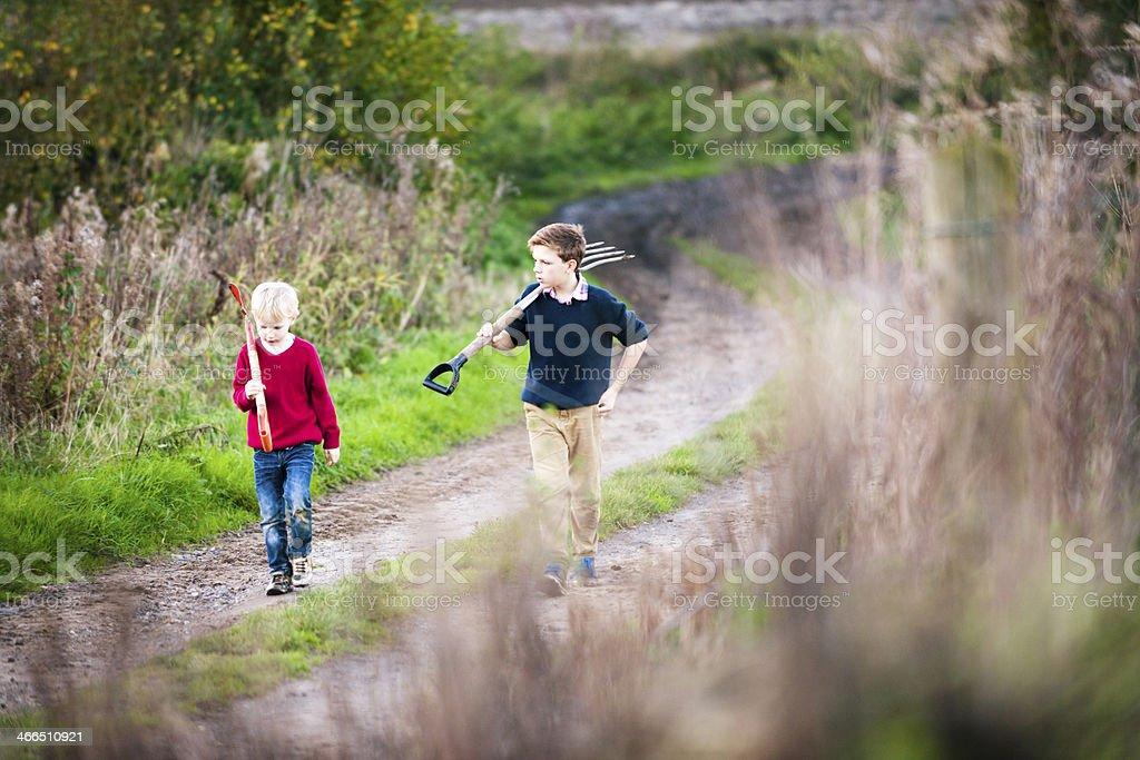 Walking & Talking royalty-free stock photo