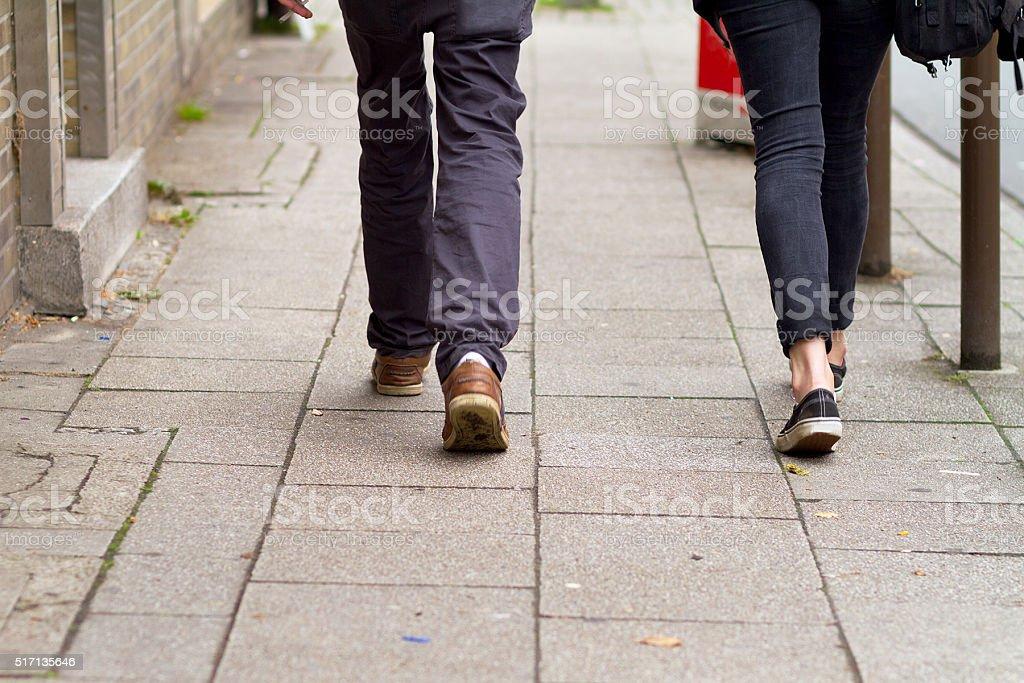 Walking teenagers stock photo