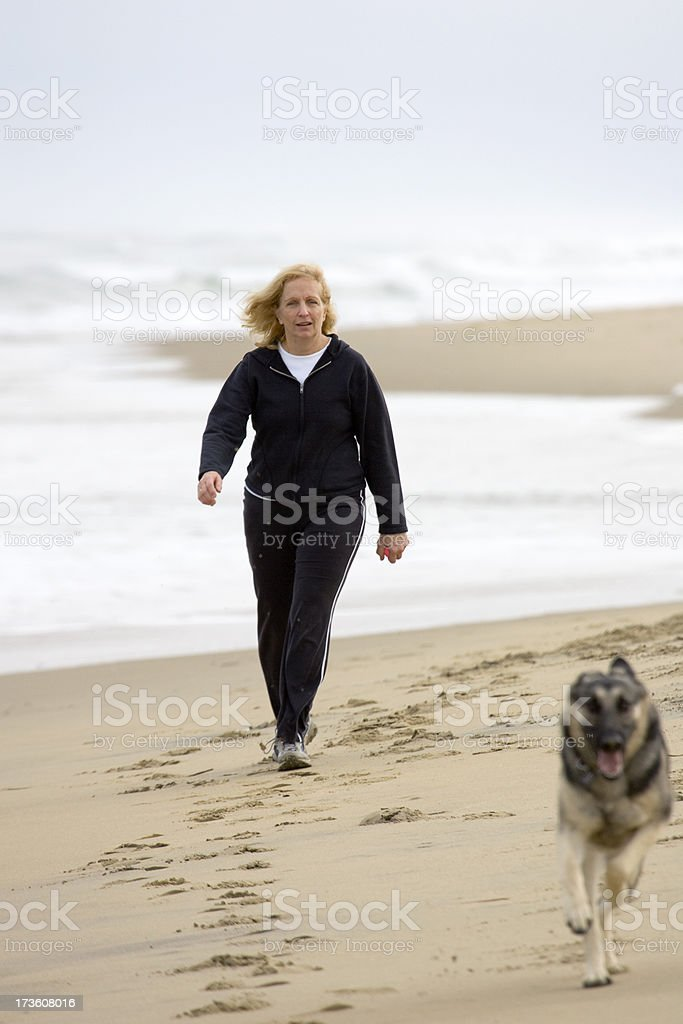 Walking the dog along a beach royalty-free stock photo