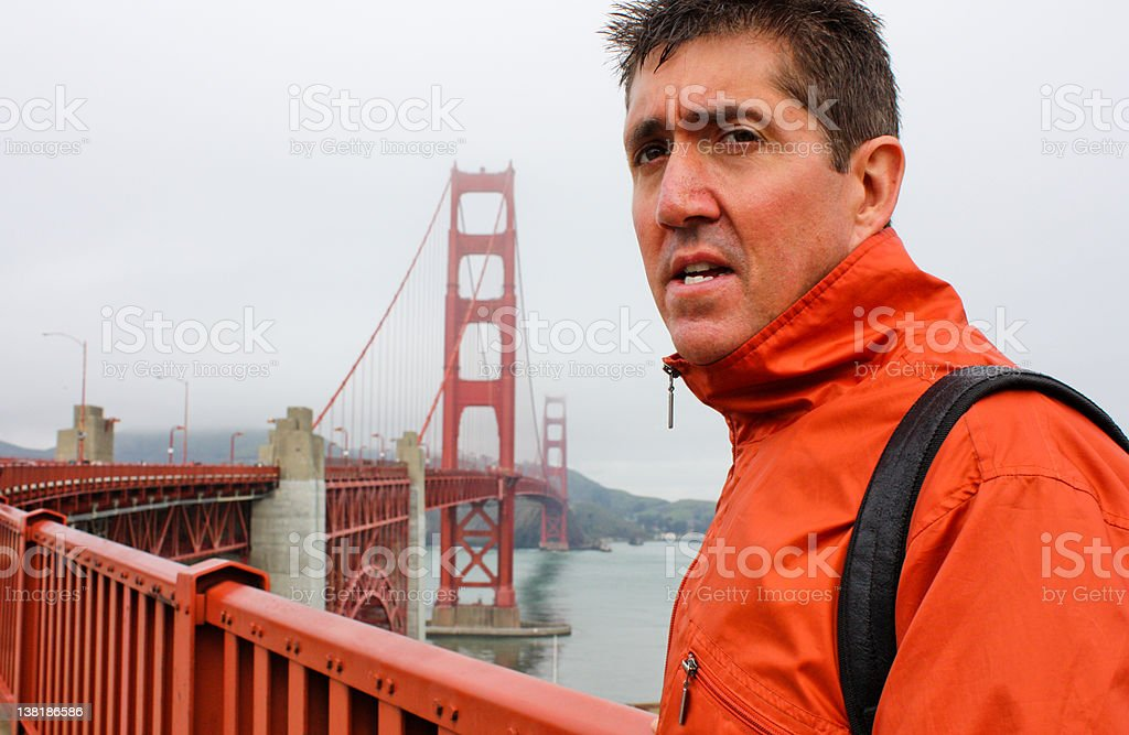 Walking The Golden Gate Bridge royalty-free stock photo