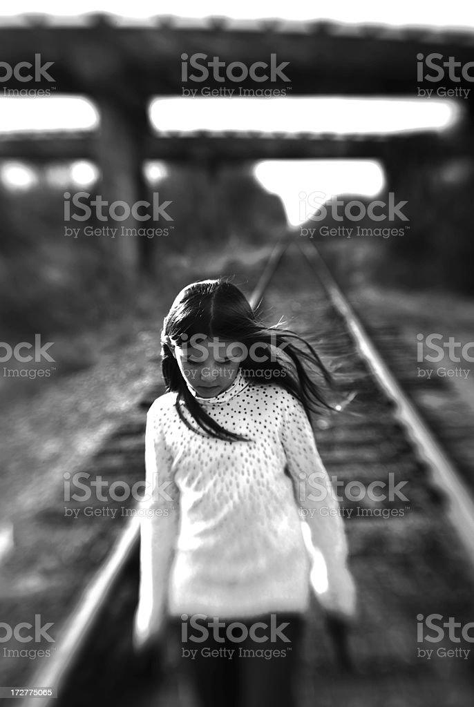 Walking the tracks stock photo