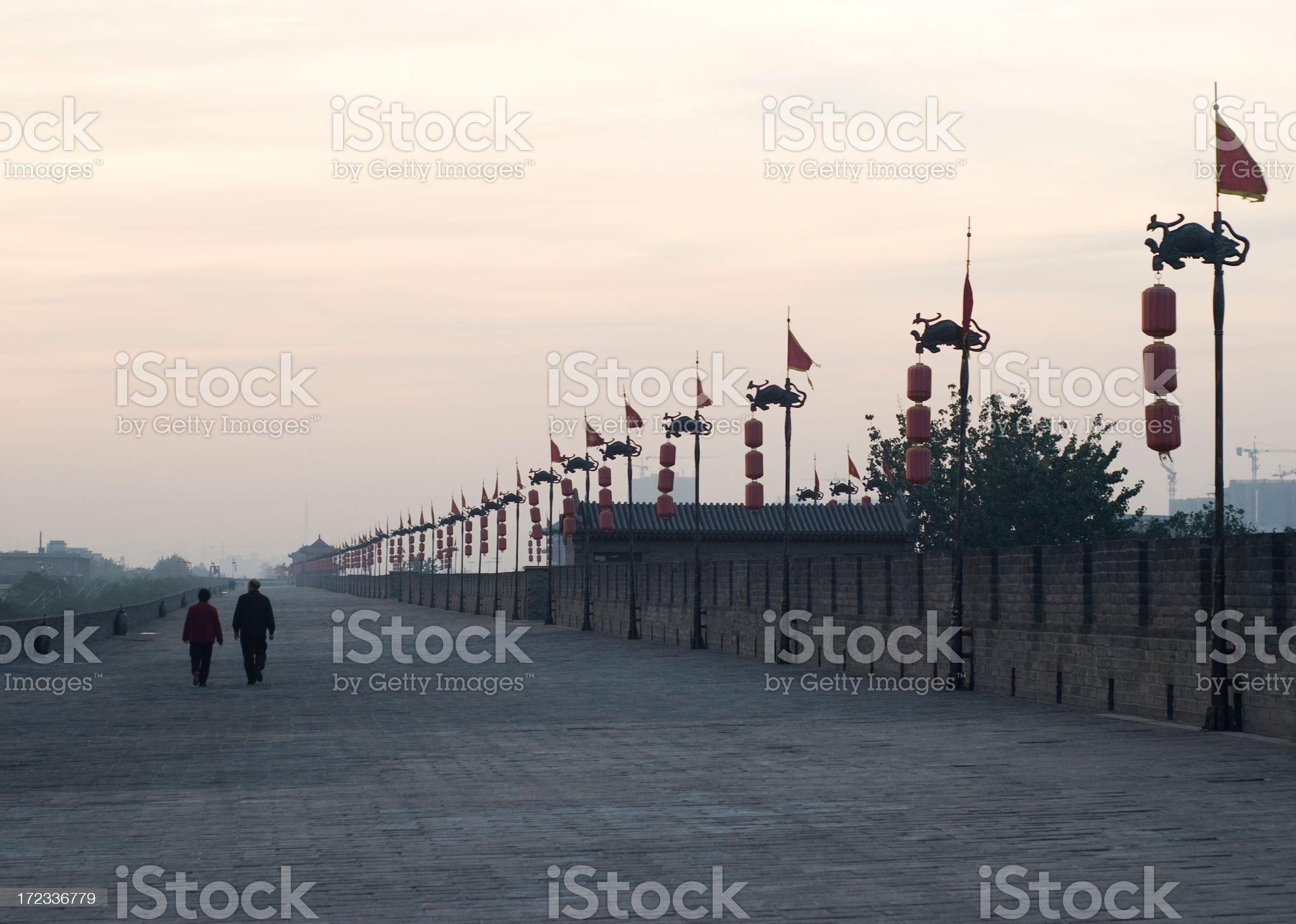 Walking The Wall royalty-free stock photo