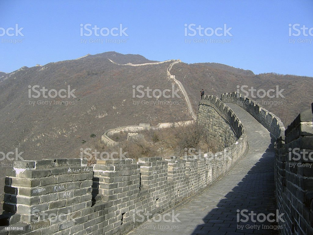 Walking the Wall royalty-free stock photo