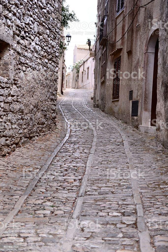 Walking through a medieval town stock photo