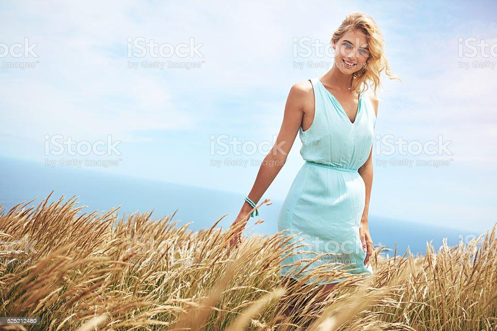 Walking through a wheatfield stock photo