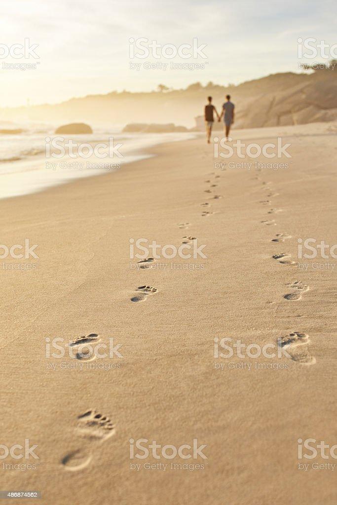 Walking through life together stock photo