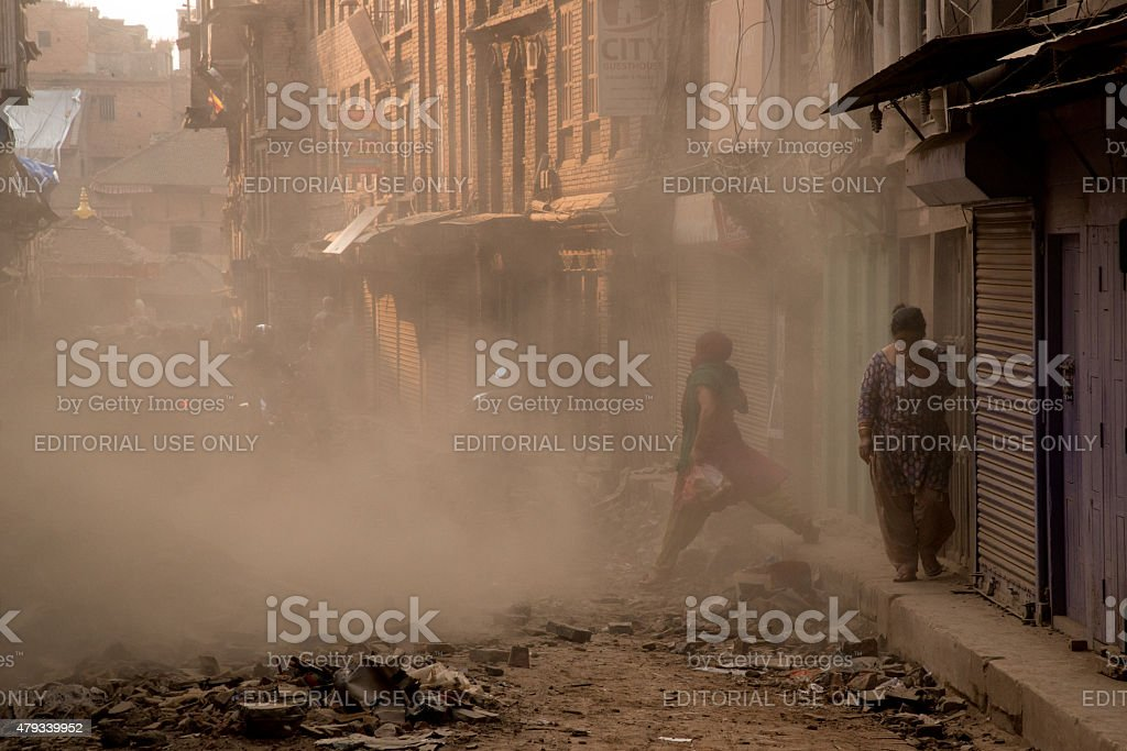 Walking through Nepal earthquake devastation stock photo