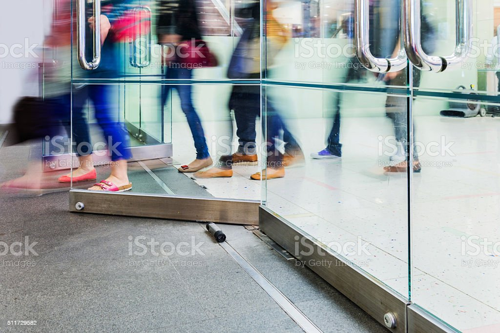 walking through the door stock photo