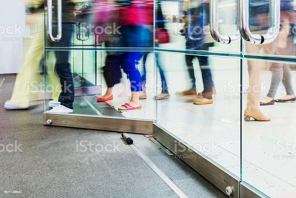 walking through the door stock photo