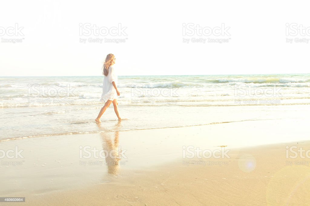 Walking through the sea - imagination stock photo