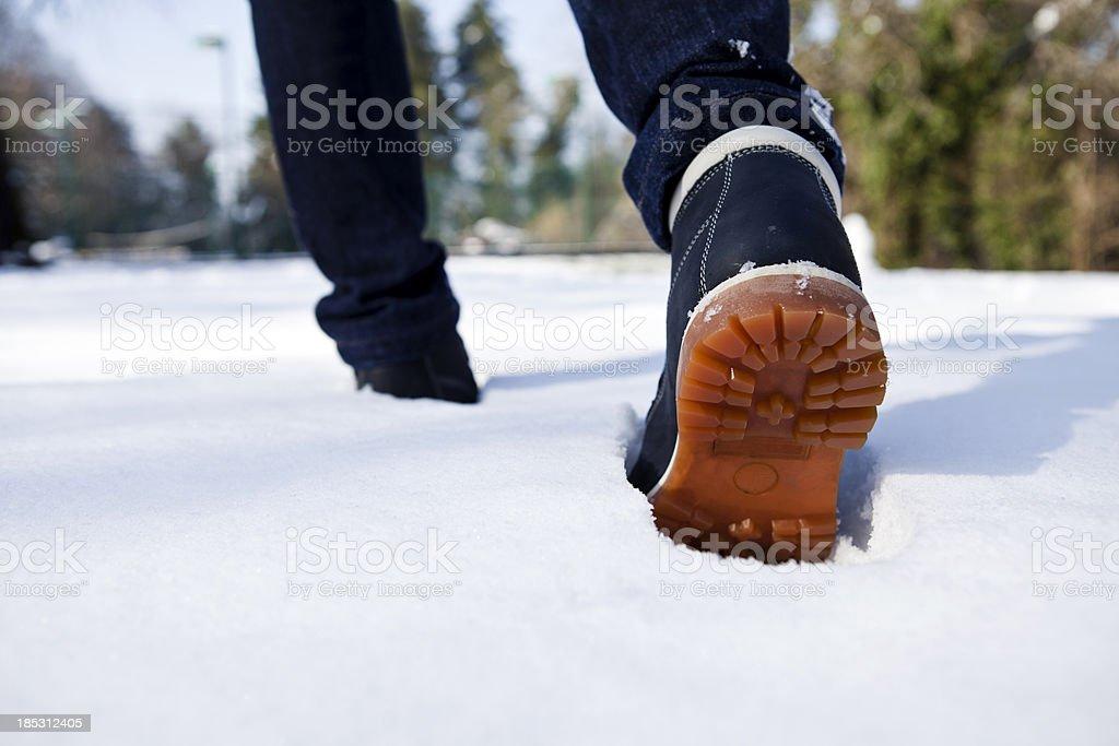 Walking Through the Snow stock photo