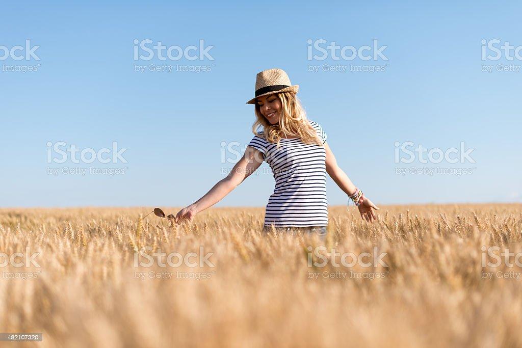 Walking through the wheat field stock photo